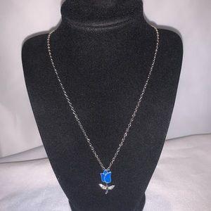 "Silver ""Blue Tulip"" Necklace with Cubic Zirconium"